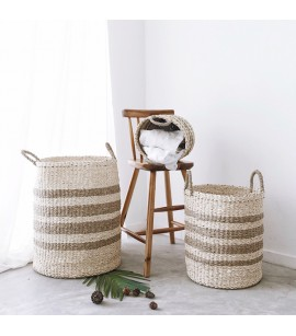 3 PIECE BASKET SET - TWISTED SEAGRASS & TWISTED PALM LEAF - SUSTAINABLE AND NATURAL FIBRE BASKETS - B7
