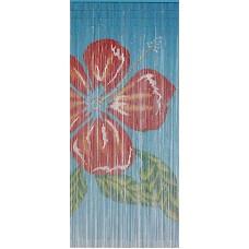 Bamboo Door Curtain Hibiscus On Blue