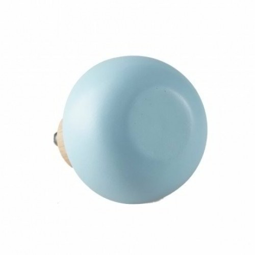 Small Round Wooden Hook Knob Light Blue