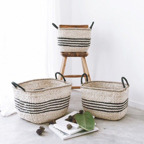3 PIECE BASKET SET - TWISTED SEAGRASS & TWISTED PALM LEAF - NATURAL FIBRE BASKETS - B11