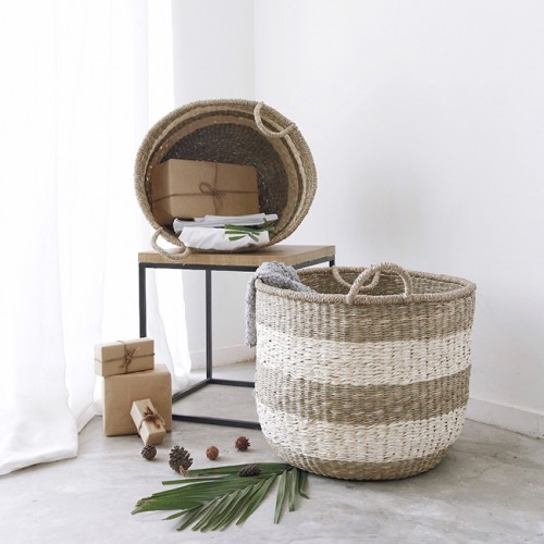 2 PIECE BASKET SET - SEAGRASS & PALM LEAF - NATURAL FIBRE BASKETS - B5