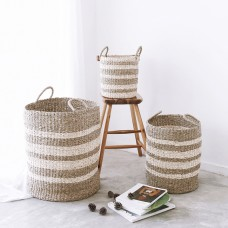 3 PIECE BASKET SET - TWISTED PALM LEAF & TWISTED SEAGRASS - SUSTAINABLE NATURAL FIBRE BASKETS - B8